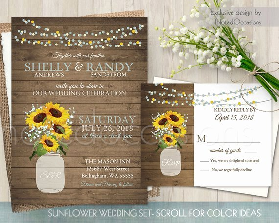 Sunflower Wedding Invitation Set Printable by Notedoccasions