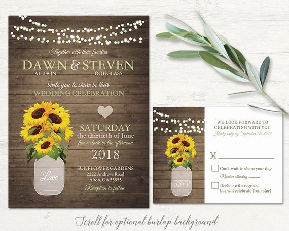 Sunflower Wedding Invitation Set Rustic Wedding Invitations