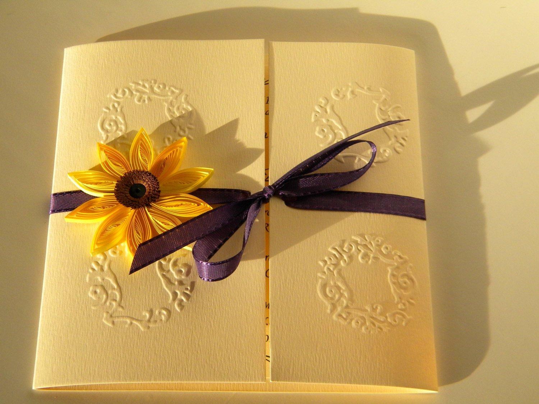 Sunflower Wedding Invitation Sunflower and Purple Vibrant