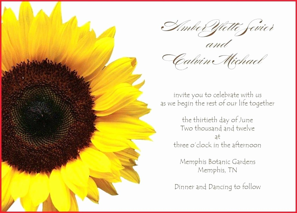 sunflower wedding invitations templates free printable invitation for word
