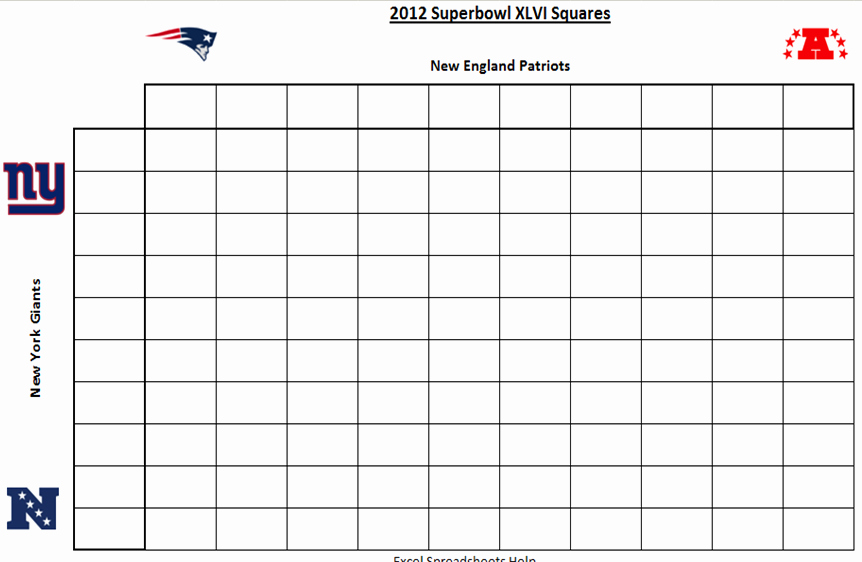 Super Bowl Pool Squares Template