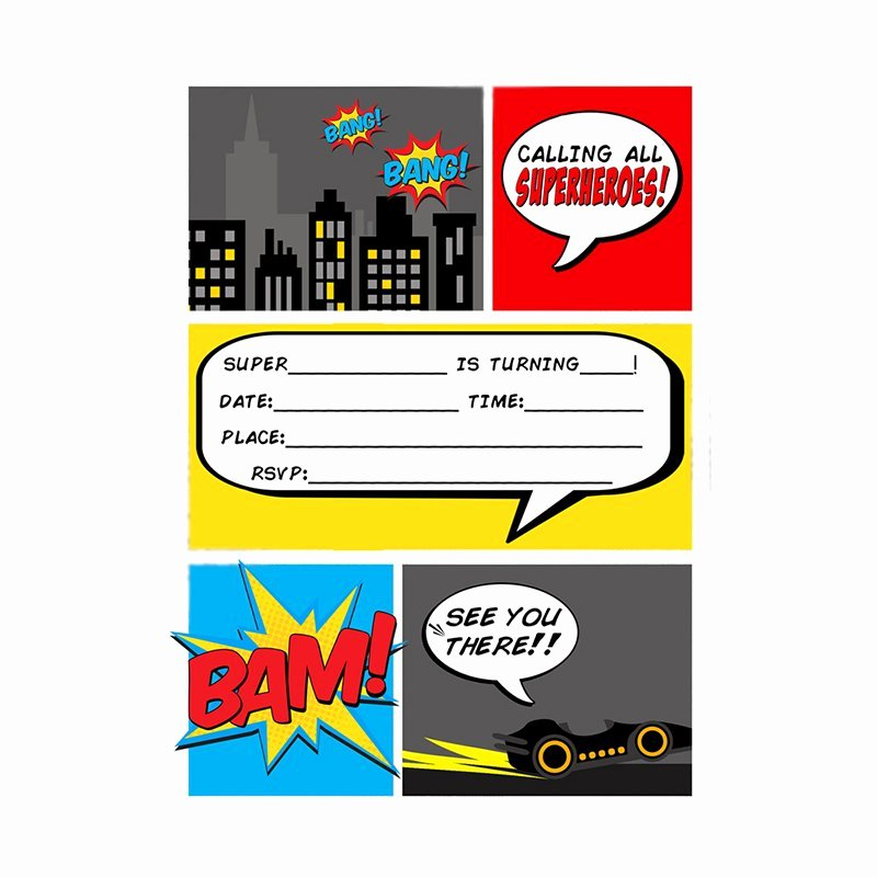 Super Hero Party Invitations Blank