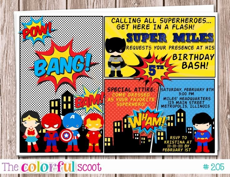 Super Heroes Party Invitation Buscar Con Google