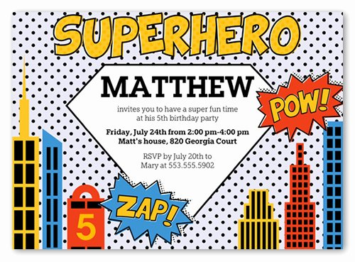 Superhero 5x7 Invite Boy Birthday Invitations