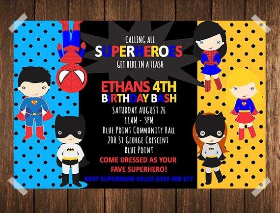 Superhero Birthday Invitation Superhero Invitation