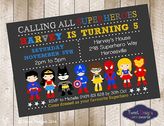Superhero Birthday Invitations Superhero Birthday