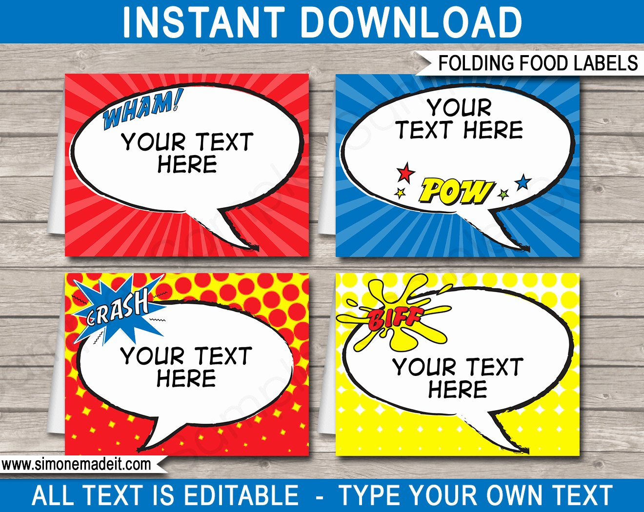Superhero Food Labels Buffet Tags Tent Cards Party