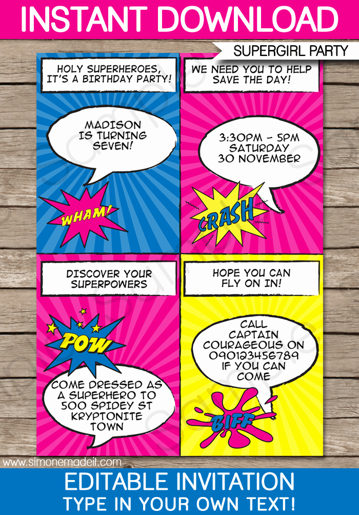 Superhero Girl Party Invitations Template