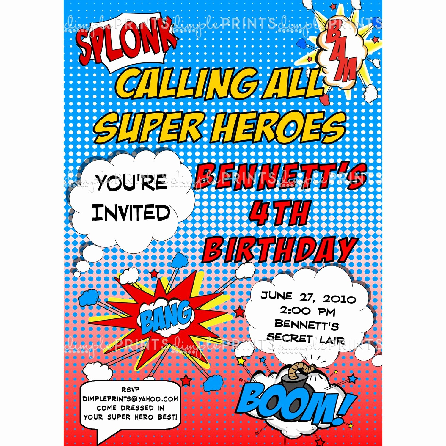 Superhero Ic Printable Invitation Dimple Prints Shop