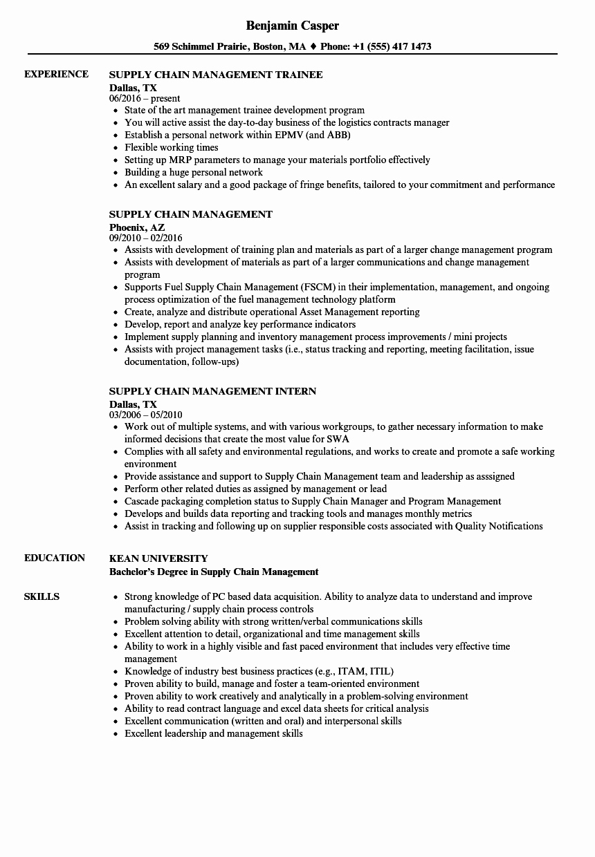 Supply Chain Management Resume Samples