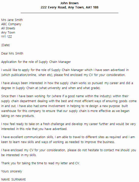 Supply Chain Manager Cover Letter Example Icover