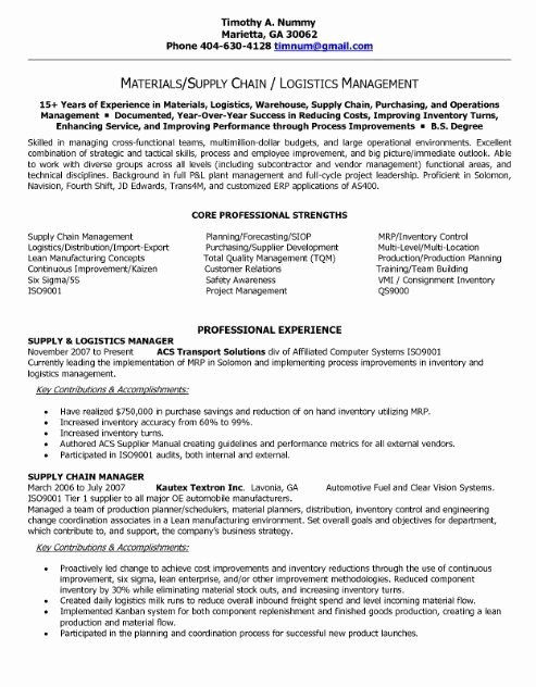 Supply Chain Manager Resume Resumetemplate