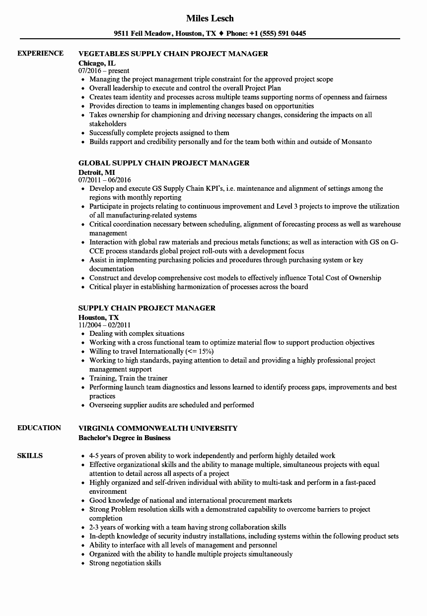 Supply Chain Project Manager Resume Annecarolynbird