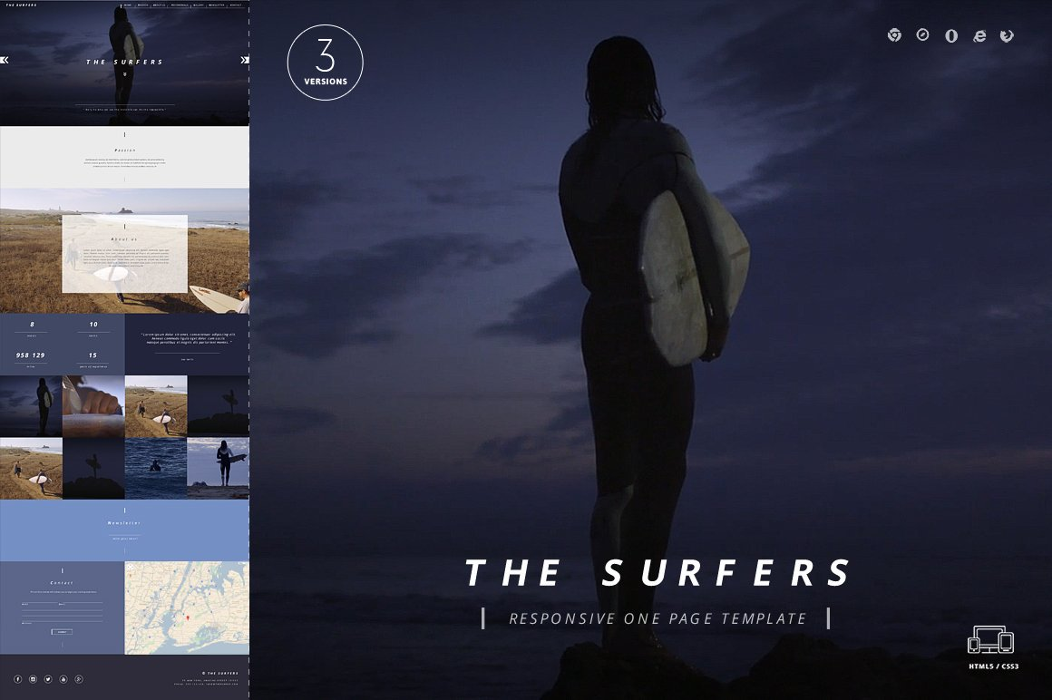 Surfers E Page HTML5 Template themes & Templates