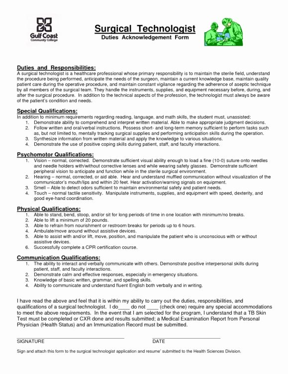 Surgical Technologist Resume for Students
