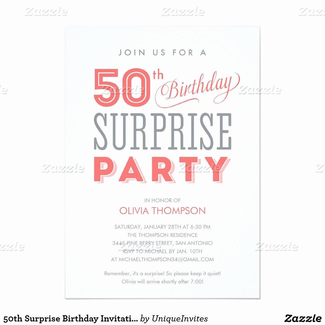 Surprise 50th Birthday Party Invitation Wording