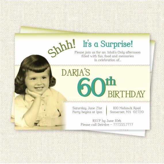 Surprise 60th Birthday Invitation Digital Printable File