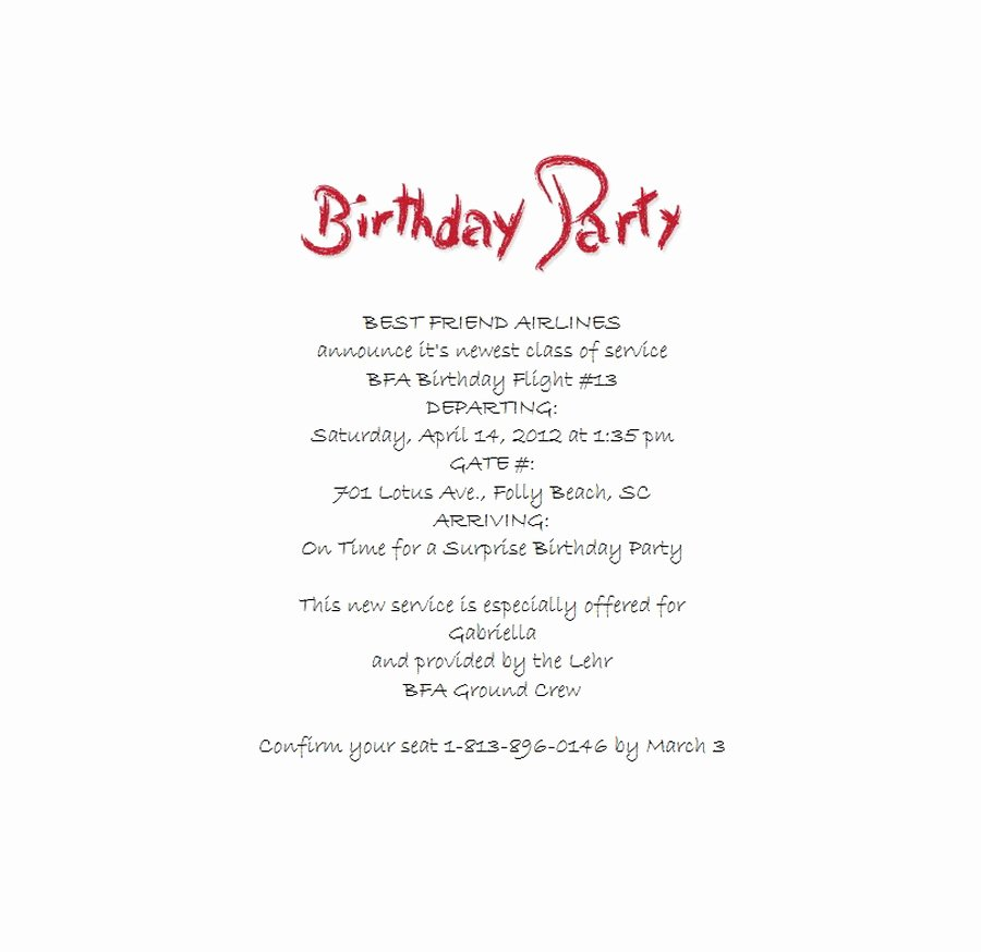 Surprise Birthday Party Invitations 4 Wording
