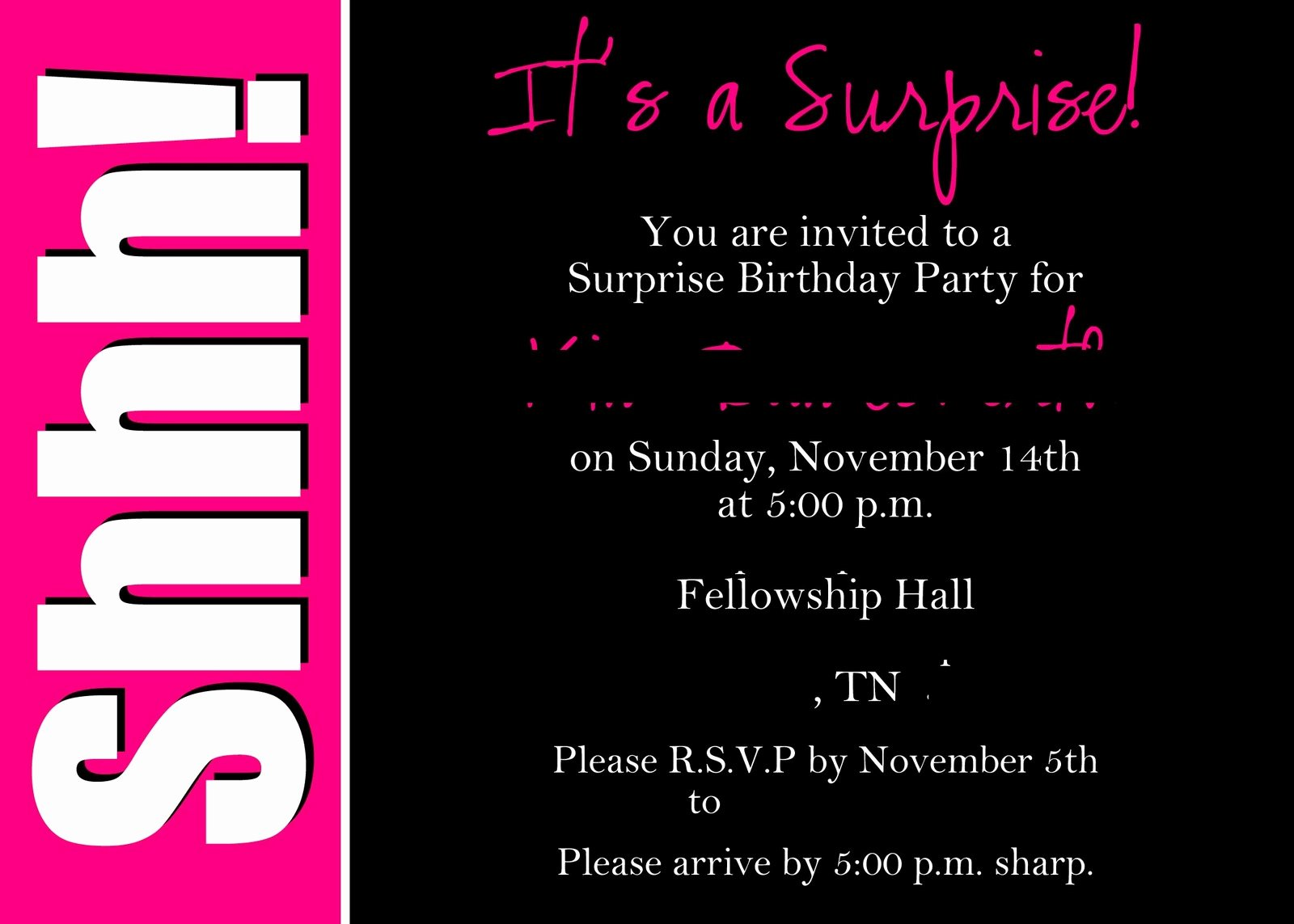 Surprise Party Invitation Wording Template