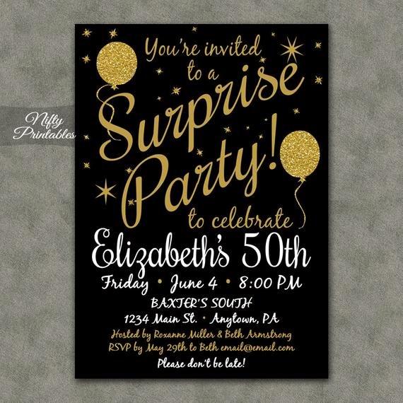 Surprise Party Invitations Printable Black & Gold Surprise