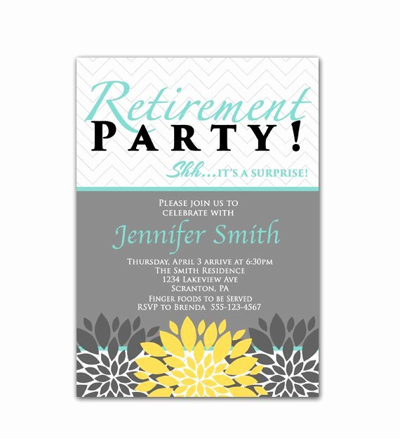 Surprise Retirement Party Invitation Blue Yellow by