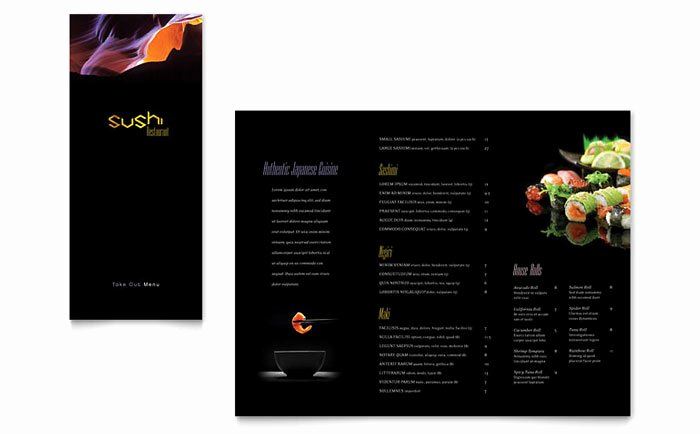 Sushi Restaurant Take Out Brochure Template Design