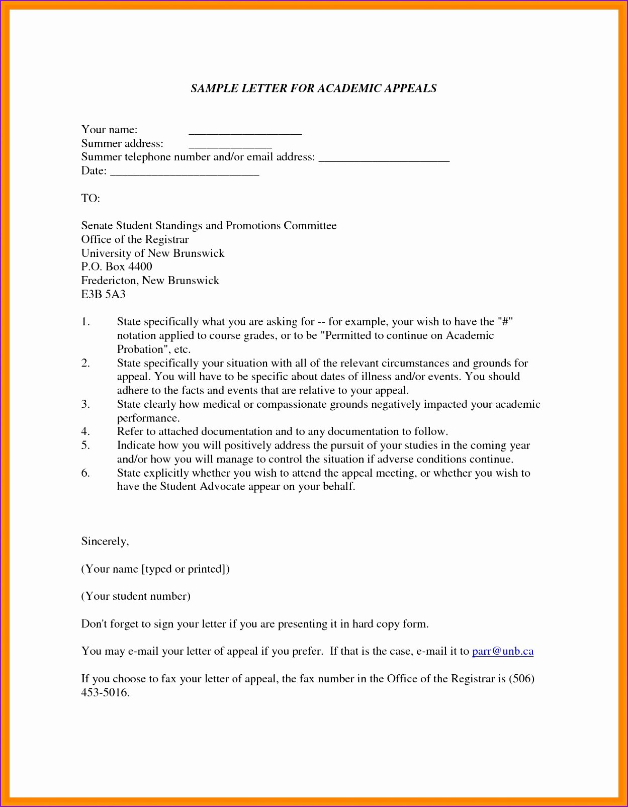 Suspension Appeal Letter Sample 2 Academic Probation