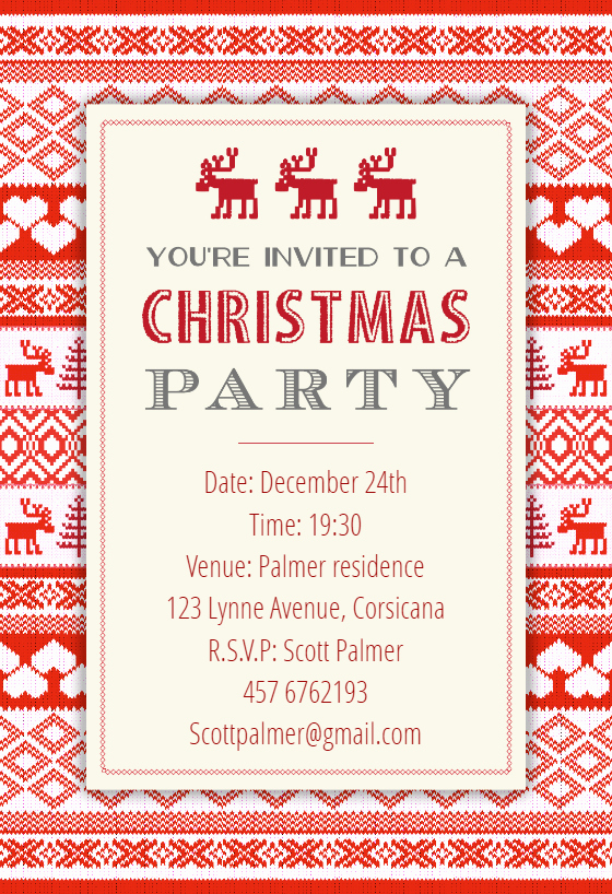 Sweaters Pattern Free Christmas Invitation Template