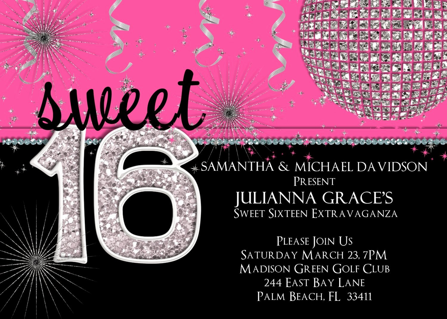 Sweet 16 Birthday Invitation Hot Pink Custom and Printable
