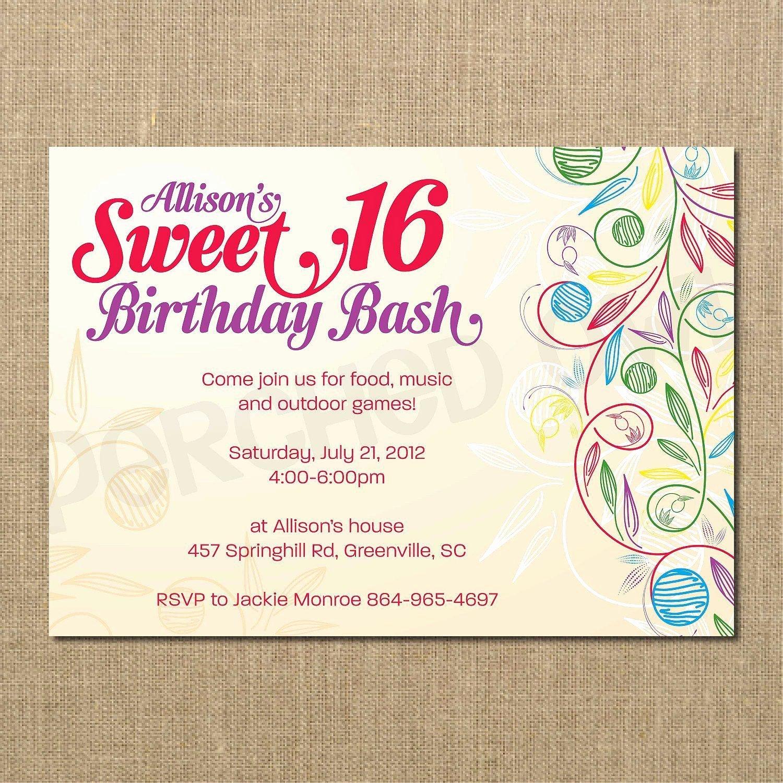 Sweet 16 Birthday Invitations Templates Free Sweet 16
