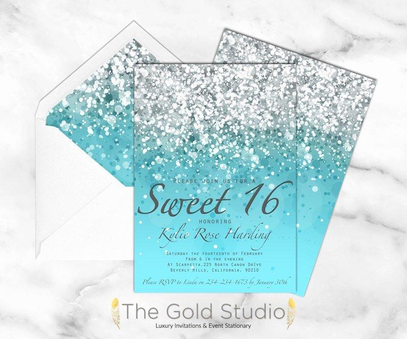 Sweet 16 Invitation Sweet Sixteen Blue Glitter Invite