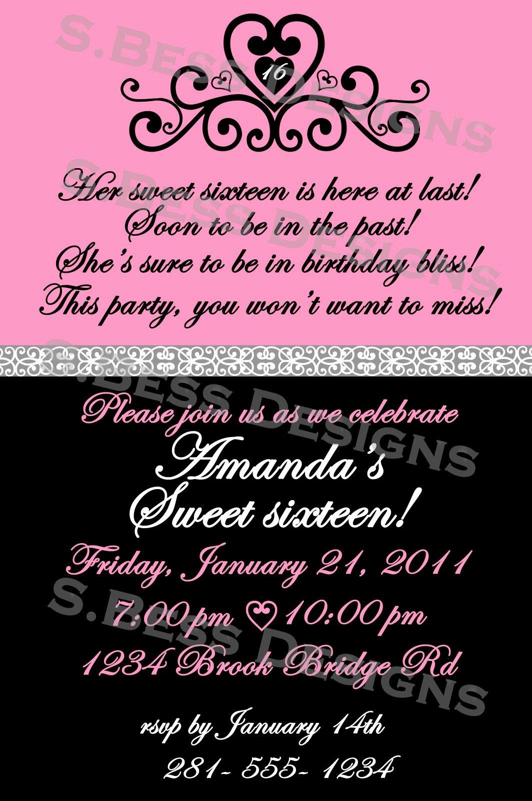 Sweet 16 Invitation Wording Template