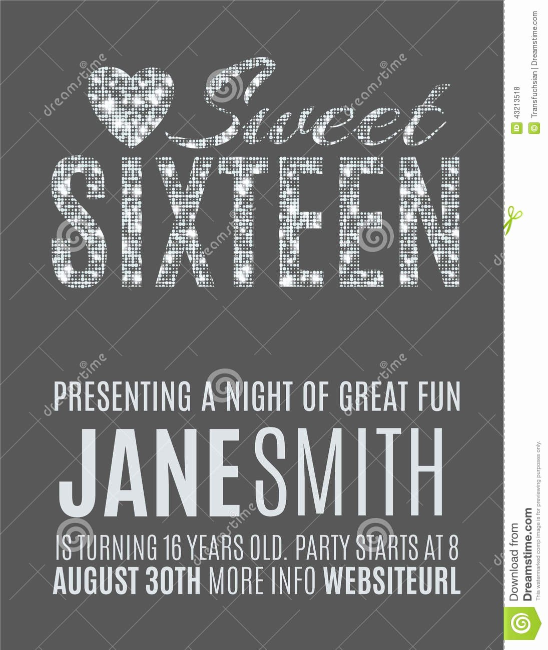 Sweet 16 Party Invitation Template Stock Vector Image