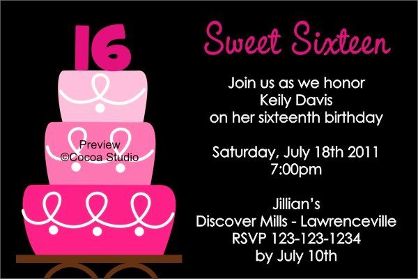 Sweet 16th Birthday Invitations Templates Free Printable