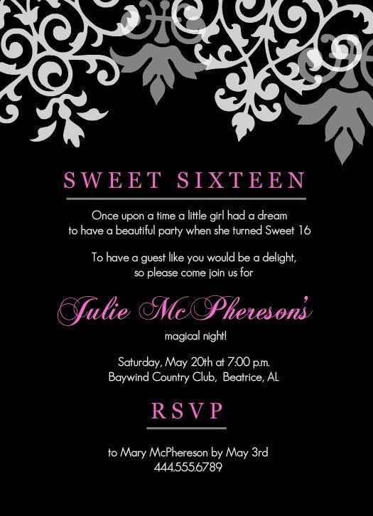 Sweet 16th Birthday Invitations Templates Free Printable
