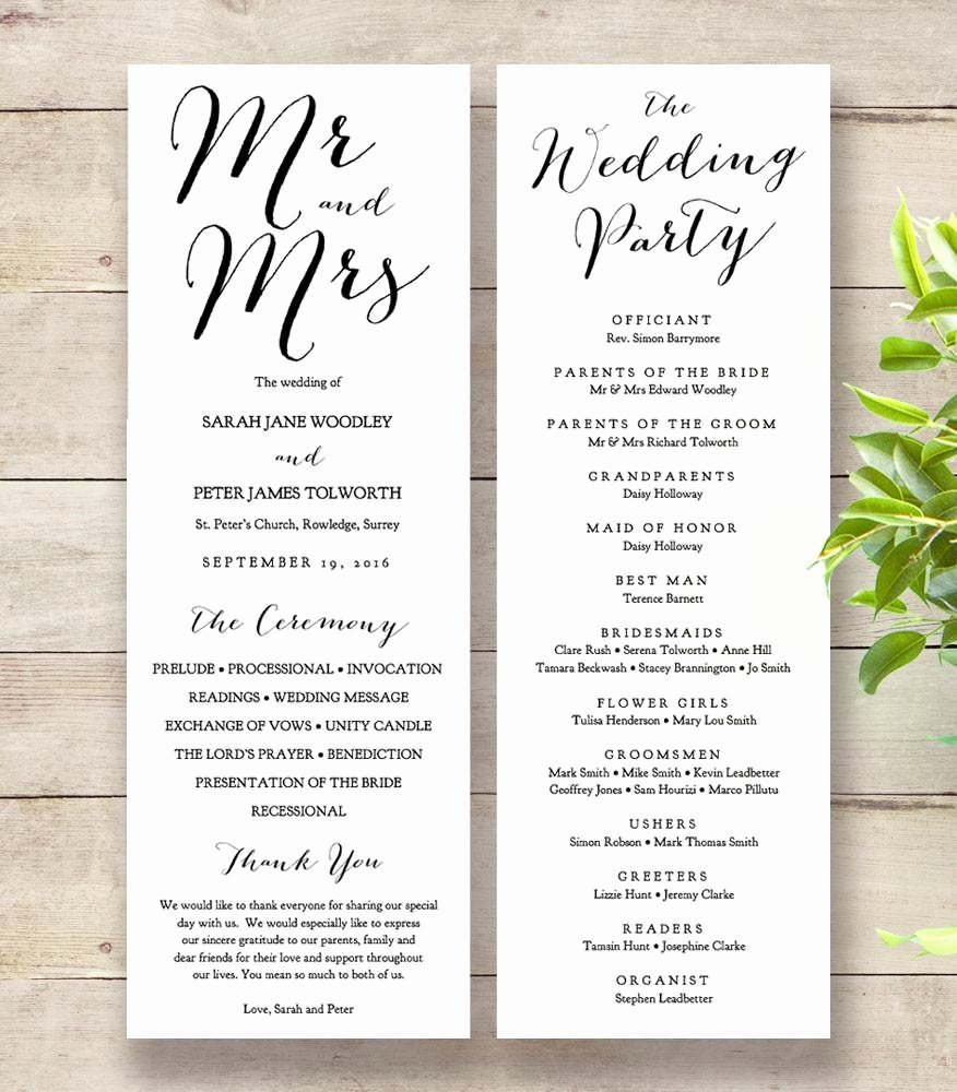 Sweet Bomb Printable Wedding order Of Service Template