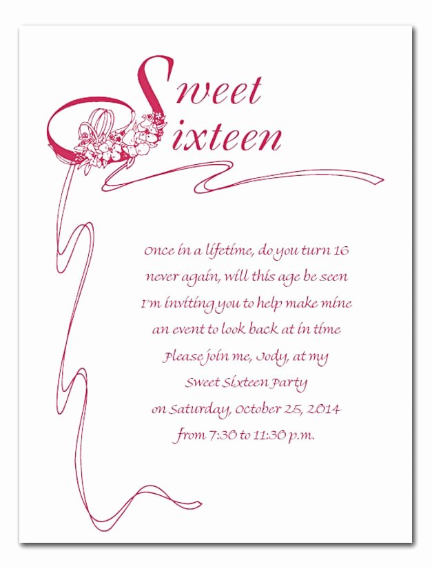 Sweet Sixteen Invitation Cards