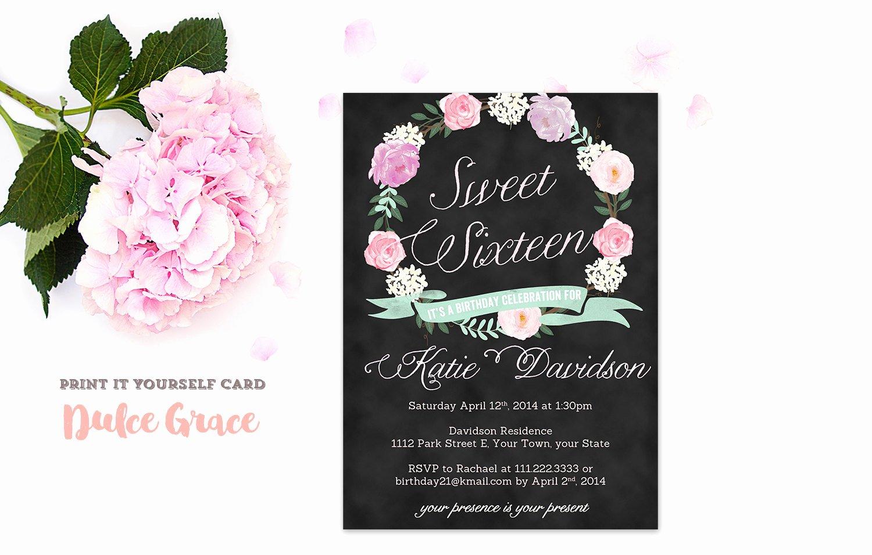 Sweet Sixteen Invitations Sweet 16 Invitation Printable