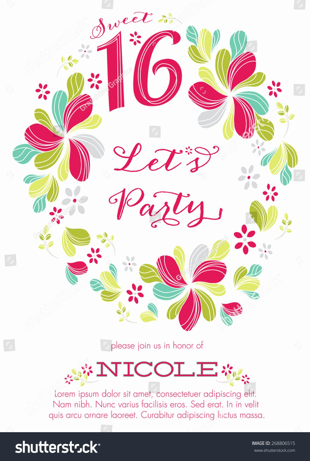 Sweet Sixteen Party Invitation Template Vector Stock
