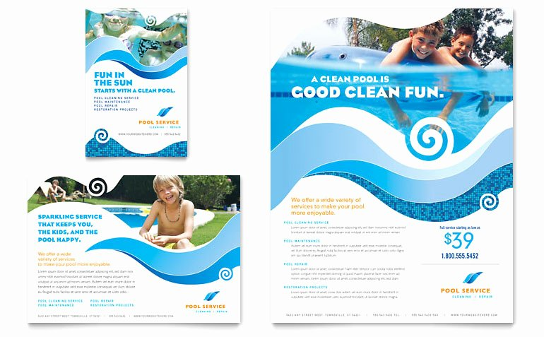 Swimming Pool Cleaning Service Flyer & Ad Template Word