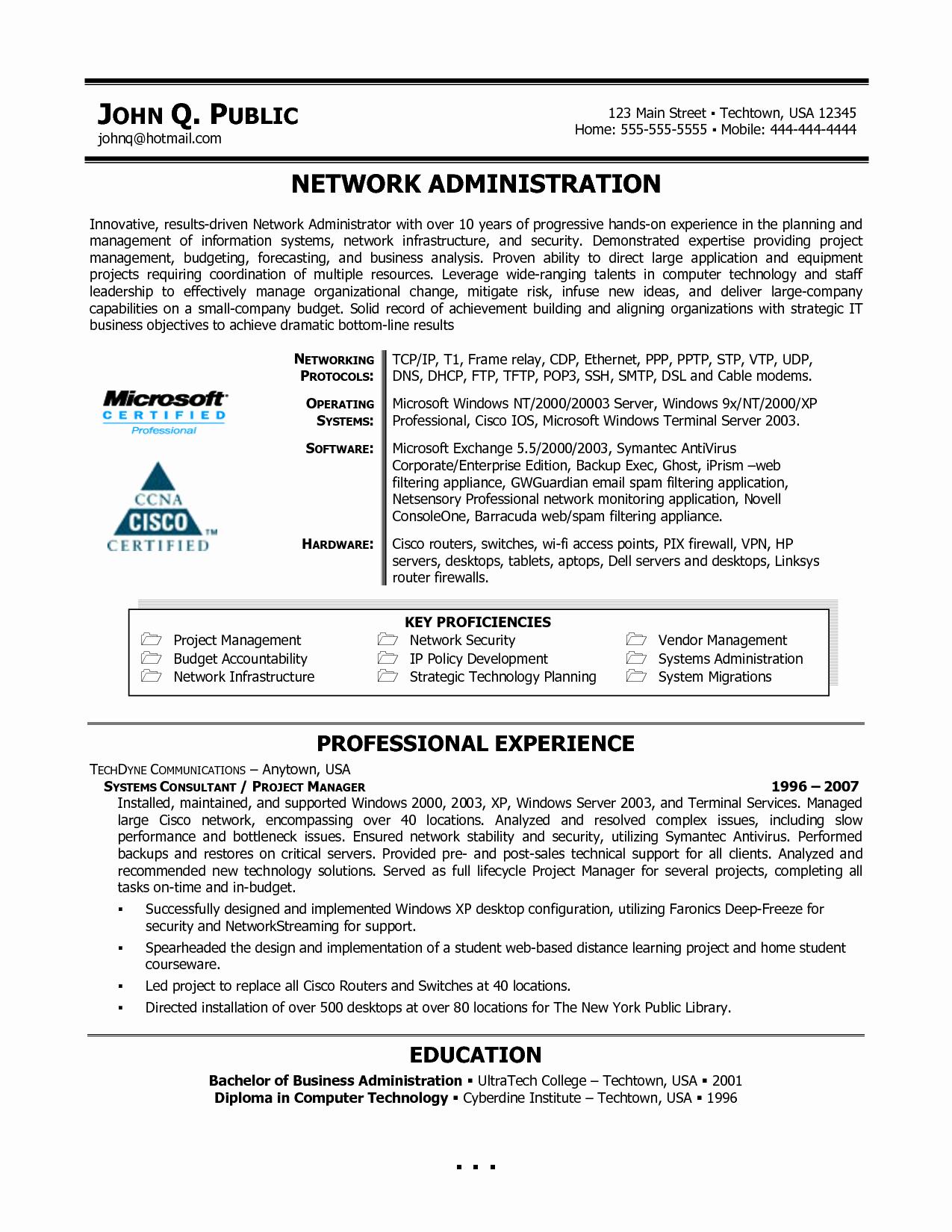 System Administrator Resume Doc 2010 Bongdaao