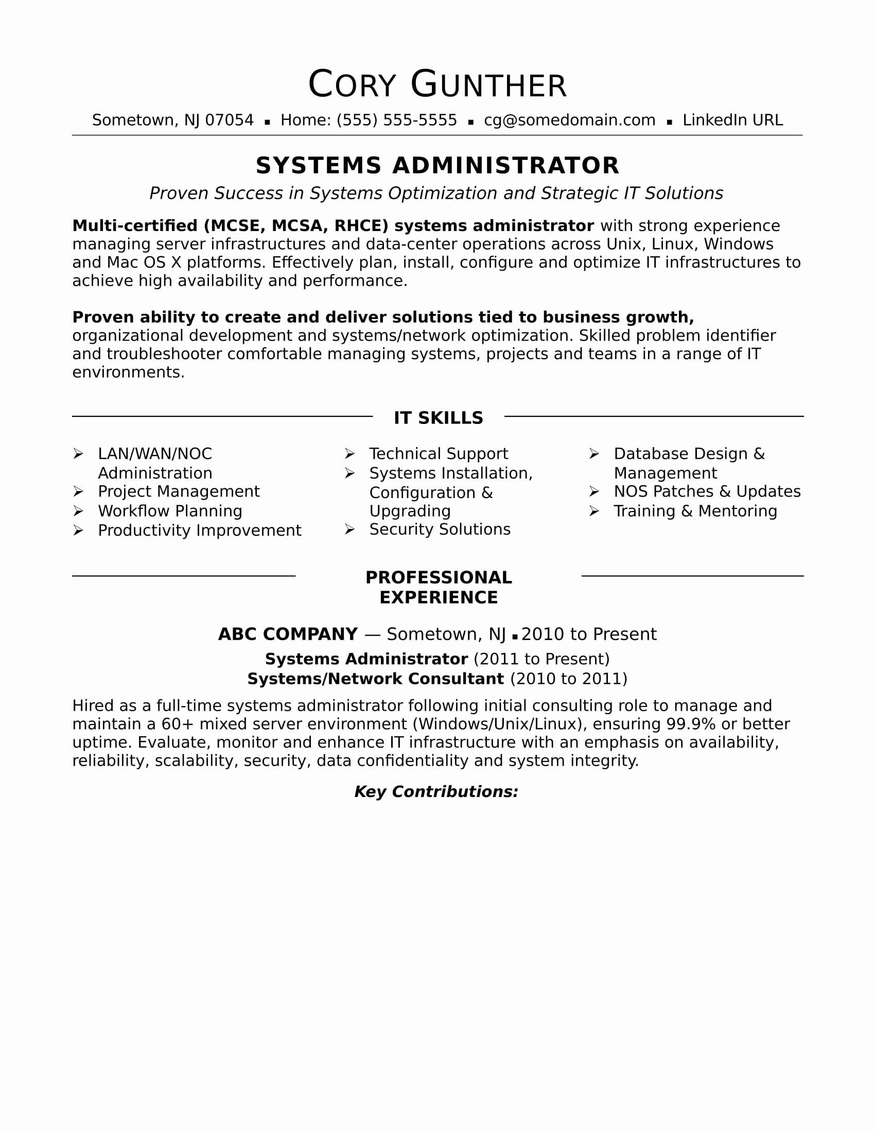 System Administrator Resume Sample Doc – Free Resume Templates