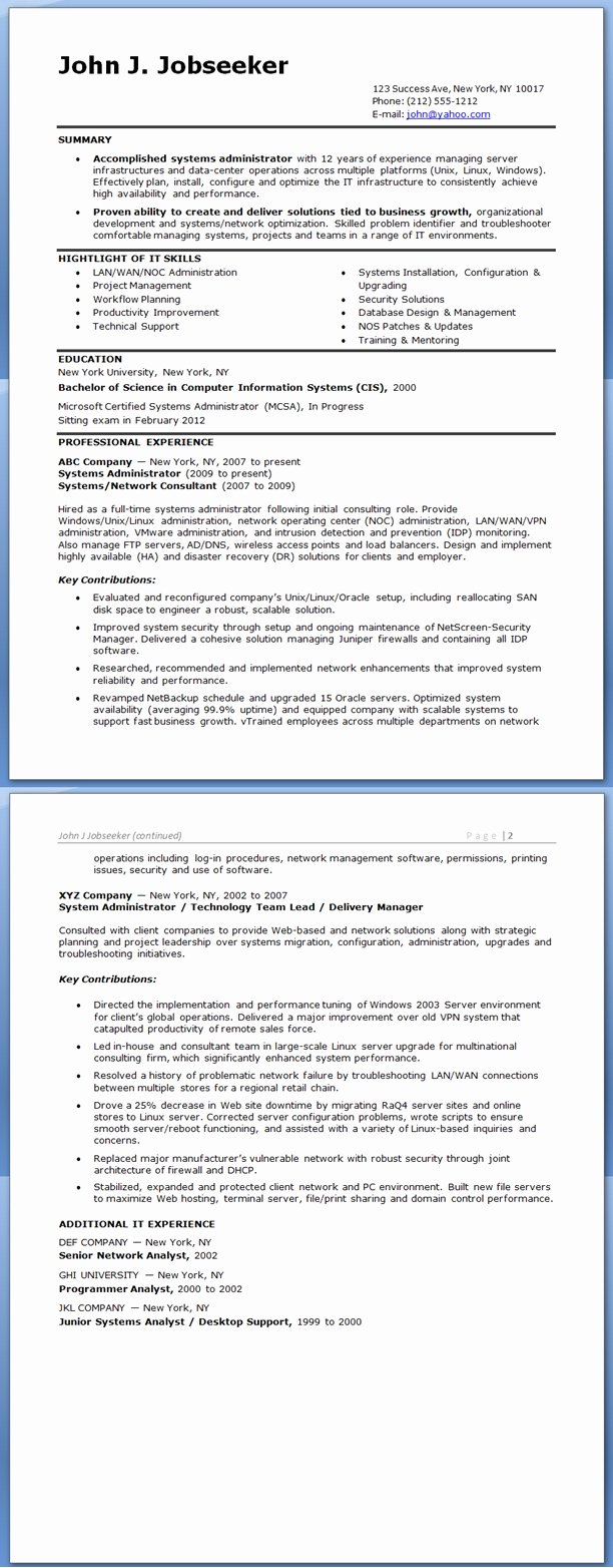 System Administrator Resume Sample Experienced