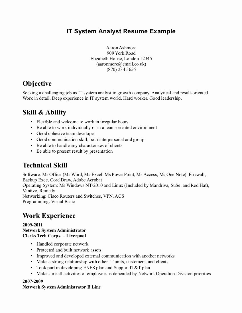 System Analyst Resume Elegant Technical Resume Skills