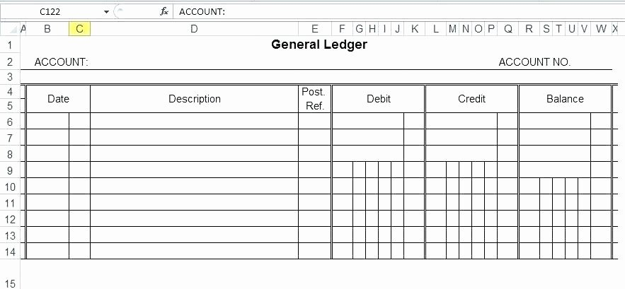 T Accounts Excel General Ledger Template – Fatfreezingub