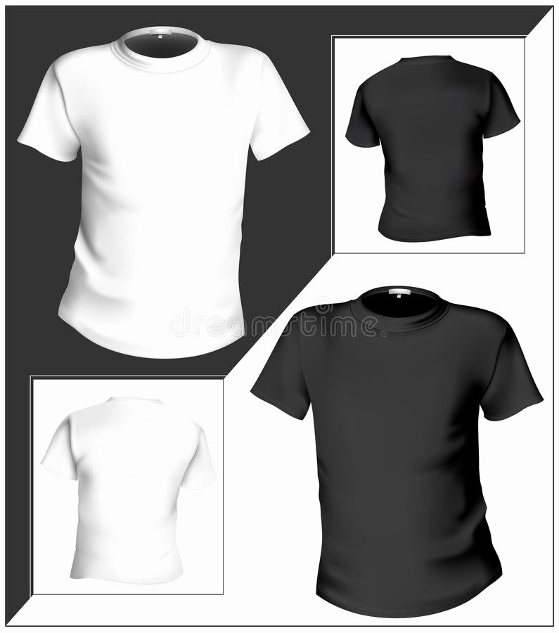 T Shirt Design Template Front & Back Black and Stock