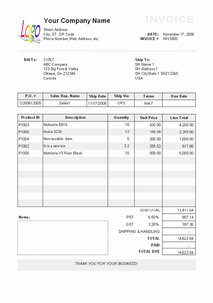 T Shirt Invoice Template