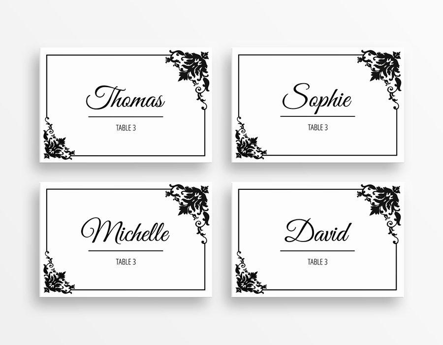Table Name Tags Template Printable