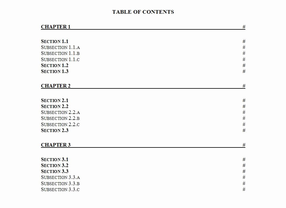 Table Of Contents Template Word