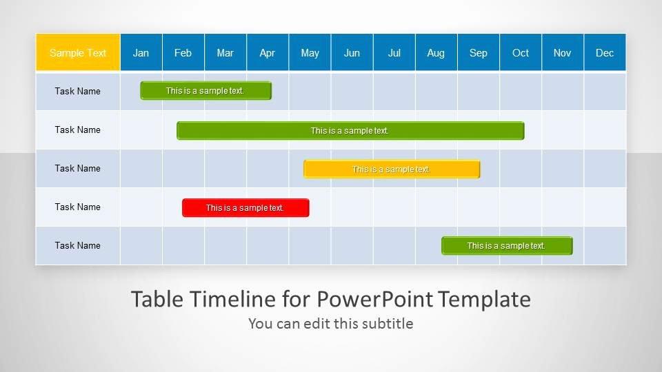 Table Timeline Template for Powerpoint Slidemodel